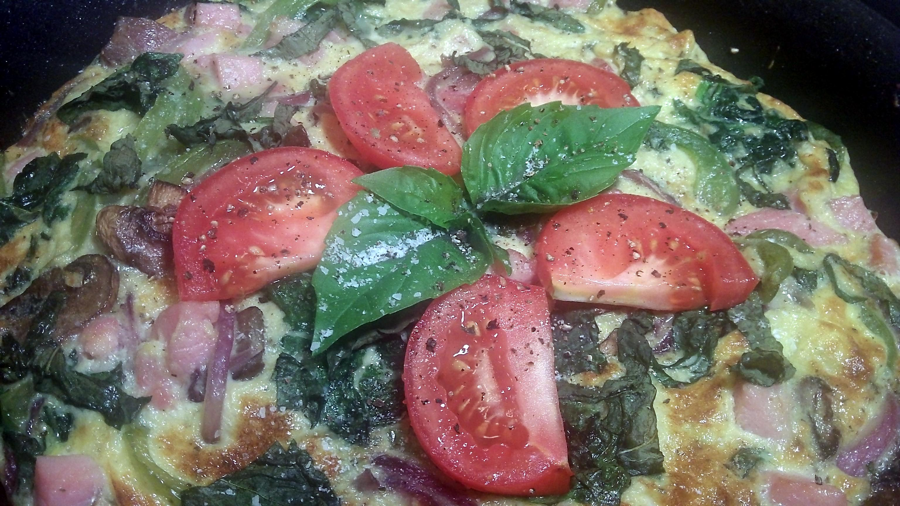 Country Ham, Mushroom, Green Pepper, Red Onion & Spinach Frittata ...