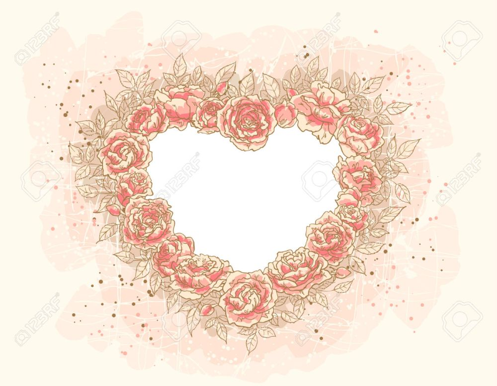 8834639-Frame-in-the-form-of-heart-of-a-lot-of-roses-Stock-Vector-wedding-vintage-heart